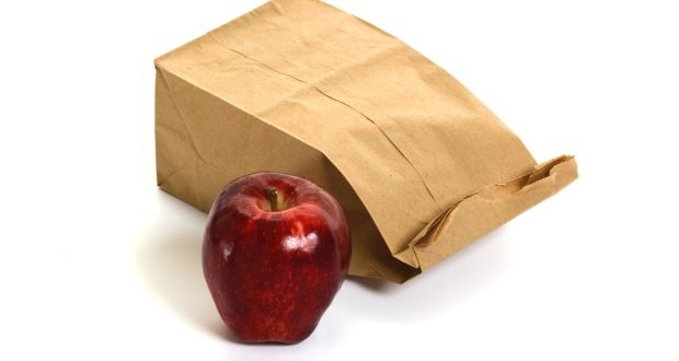 Large apple and bag